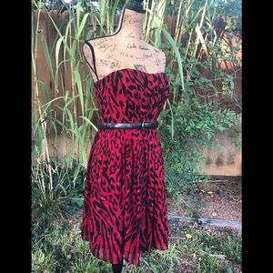 White House Black Market Red Leopard Dress Size 8